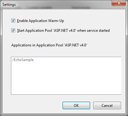 Application Warm-Up settings