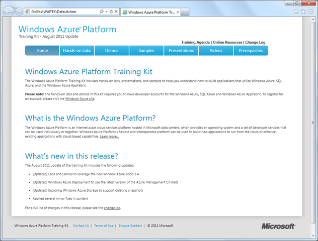 Windows Azure Platform Training Kit - August 2011
