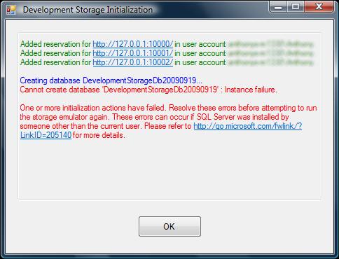 Development Storage initialization error