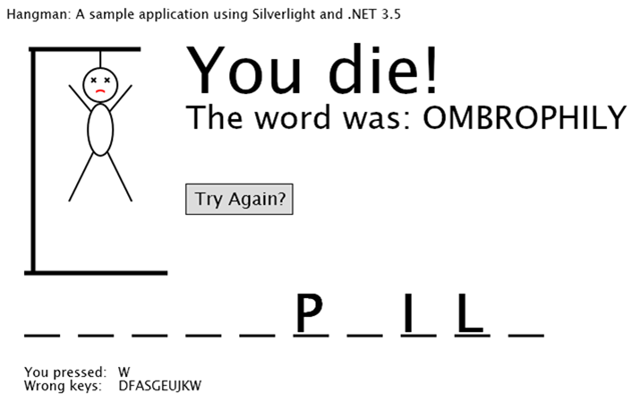 Hangman with Silverlight and .NET 3.5