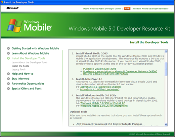 Windows Mobile 5.0 Developer Resource Kit